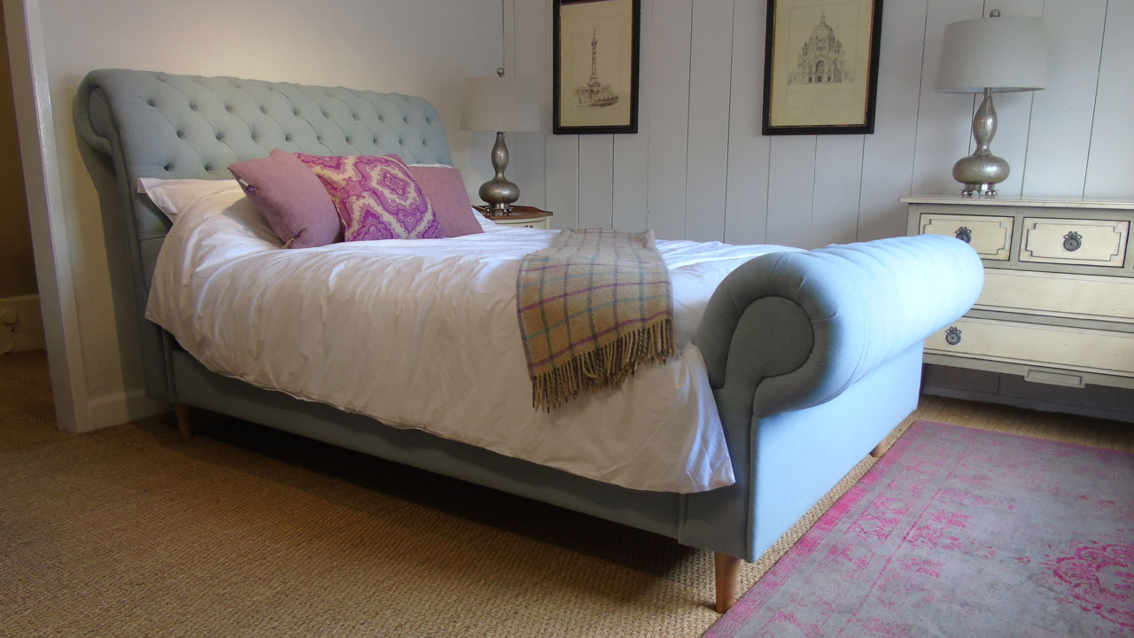Chesterfield Upholstered Bed Frame - Made Up View