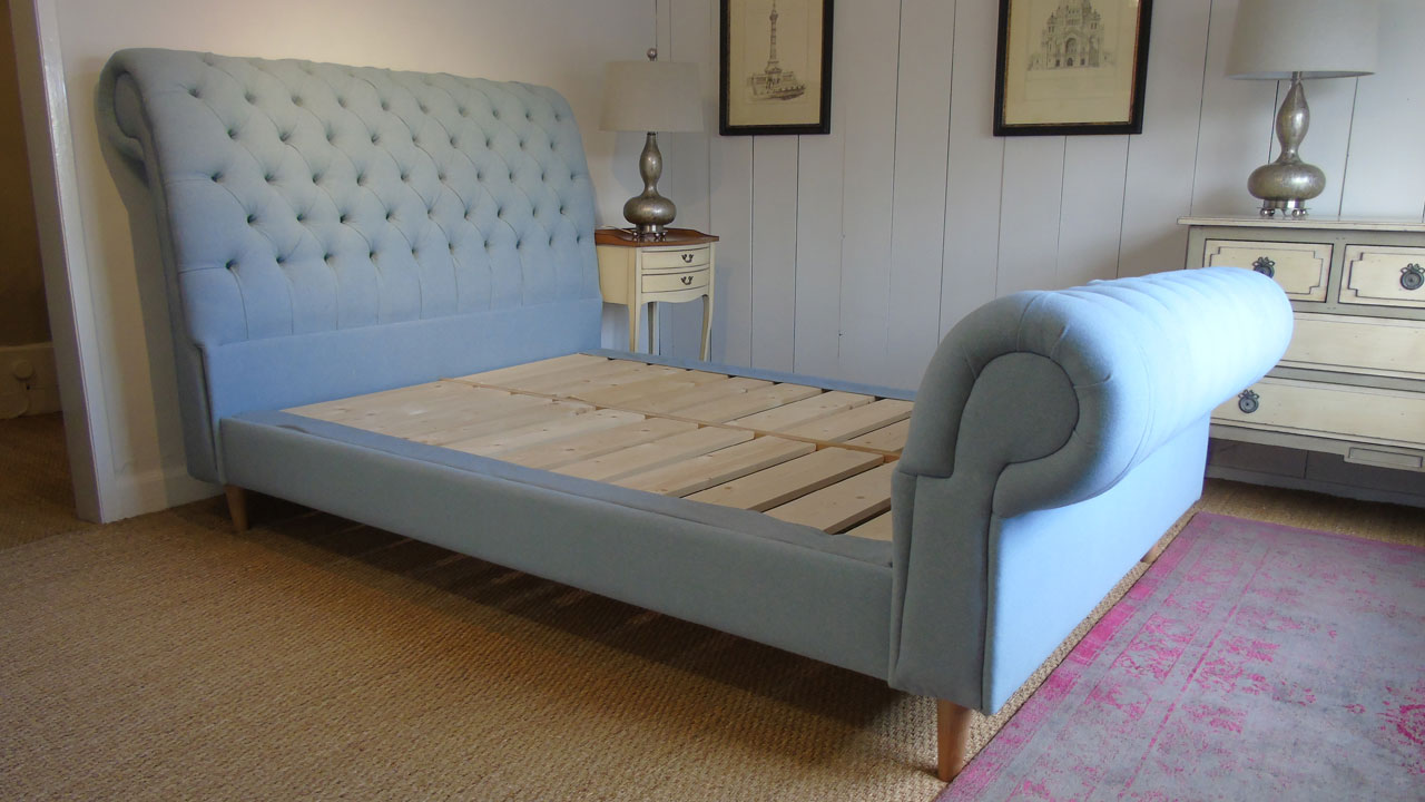 Chesterfield Upholstered Bed Frame - No Mattress View