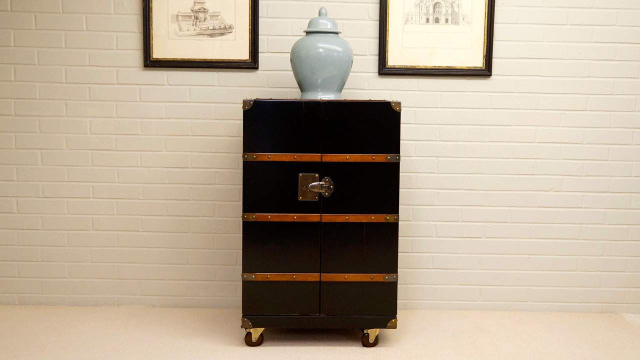 Black Painted Drinks Cabinet - Front View