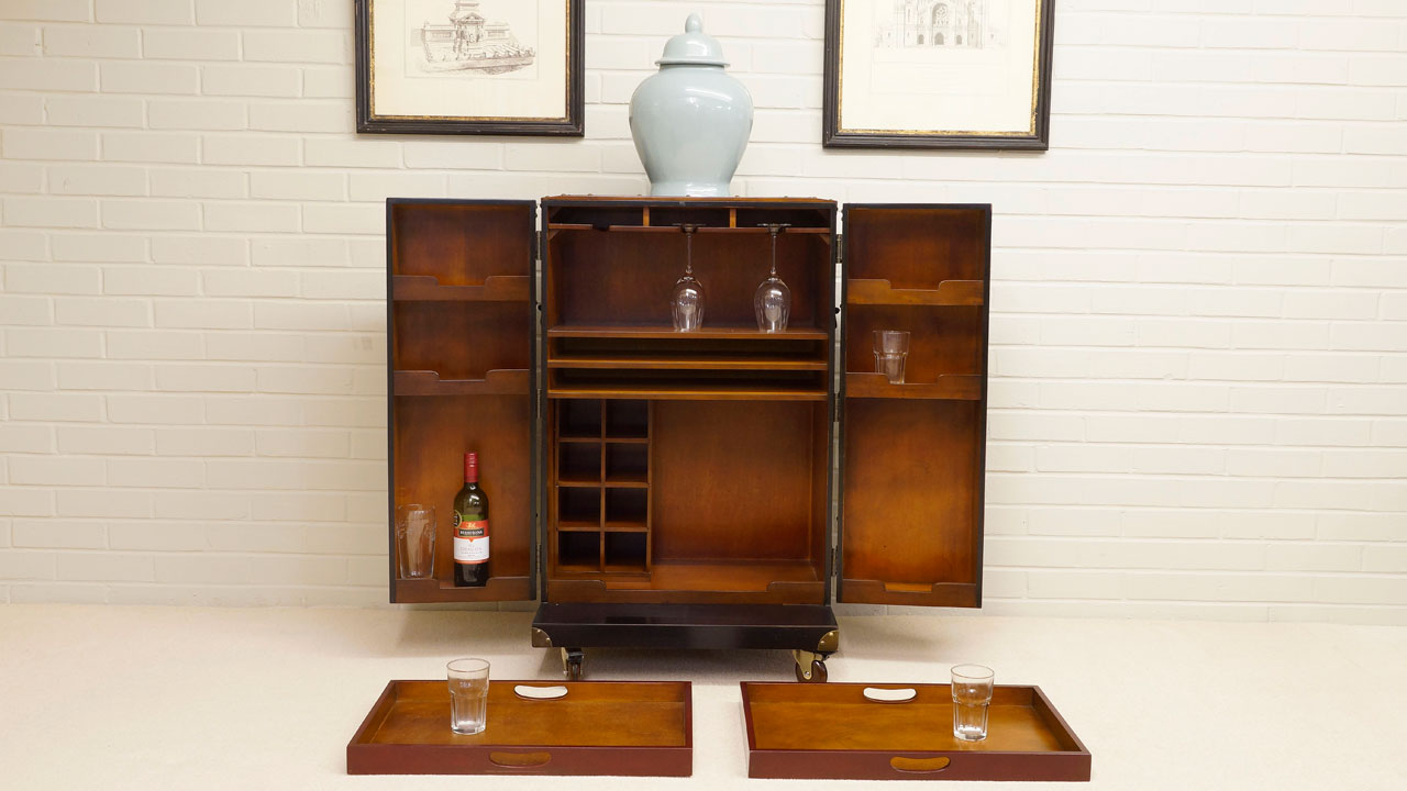 Black Painted Drinks Cabinet - Front View - Open