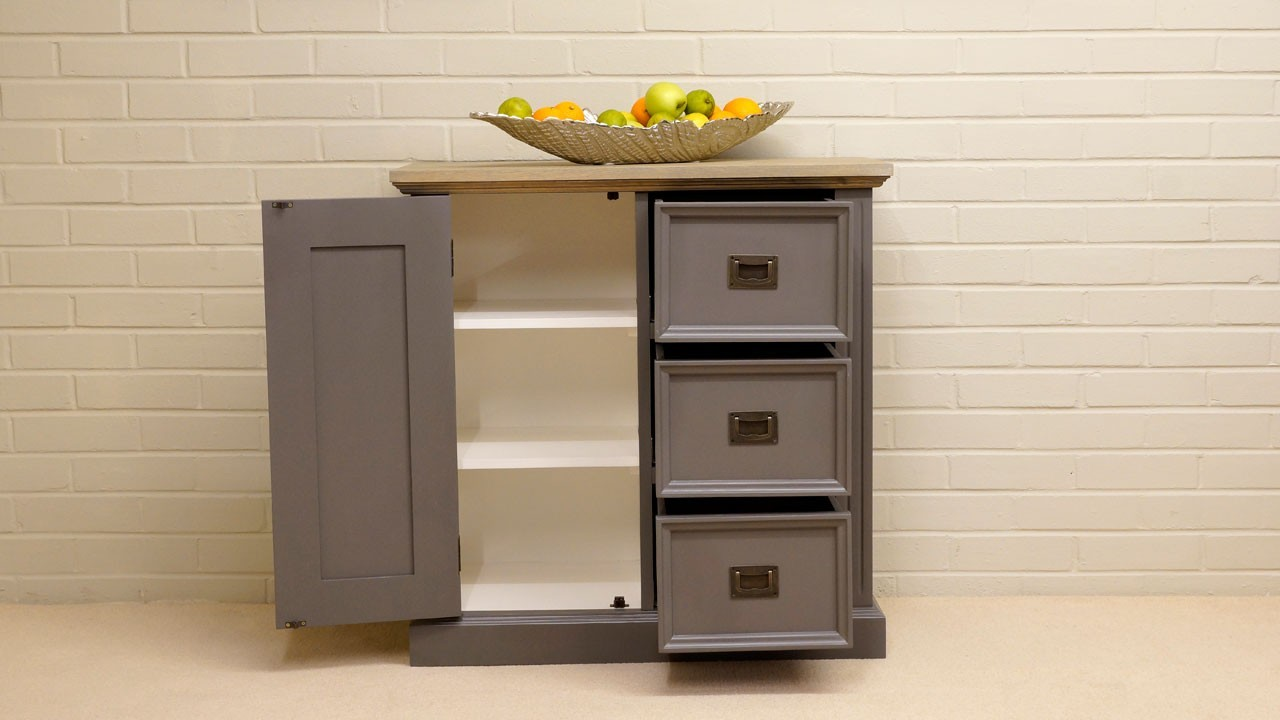 Hall Cabinet - Front View - Drawers and Door Open