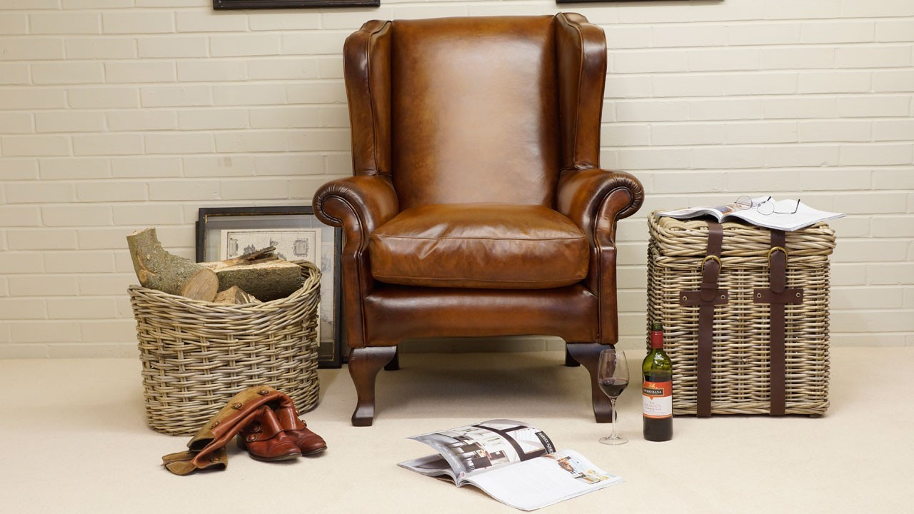 Classic Leather Wing Chair - Front View