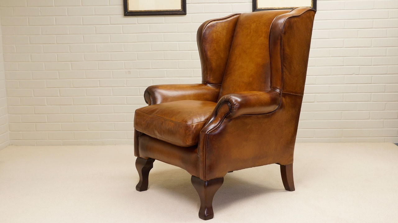 Classic Leather Wing Chair - Angled View