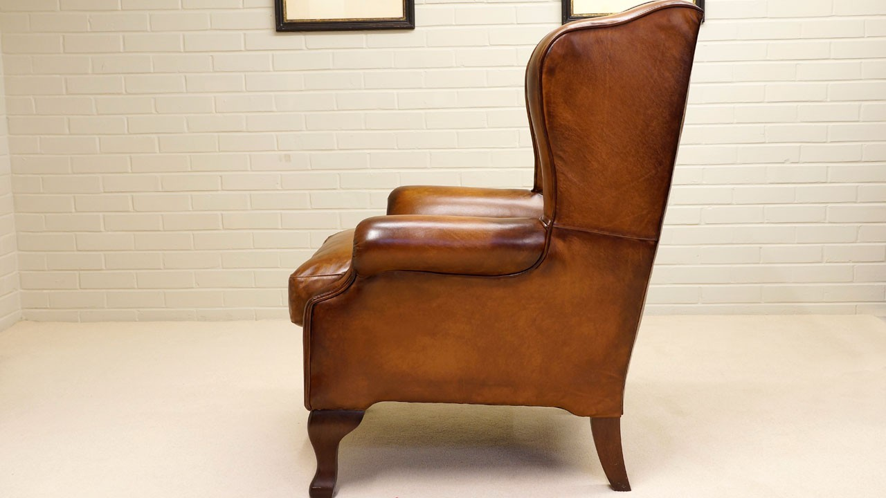 Classic Leather Wing Chair - Side View