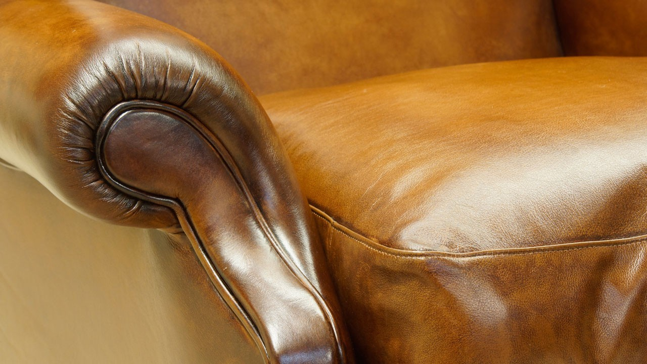 Classic Leather Wing Chair - Detail View