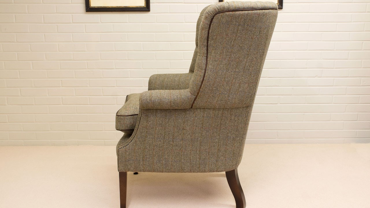 Button Back Harris Tweed Wing Chair - Side View