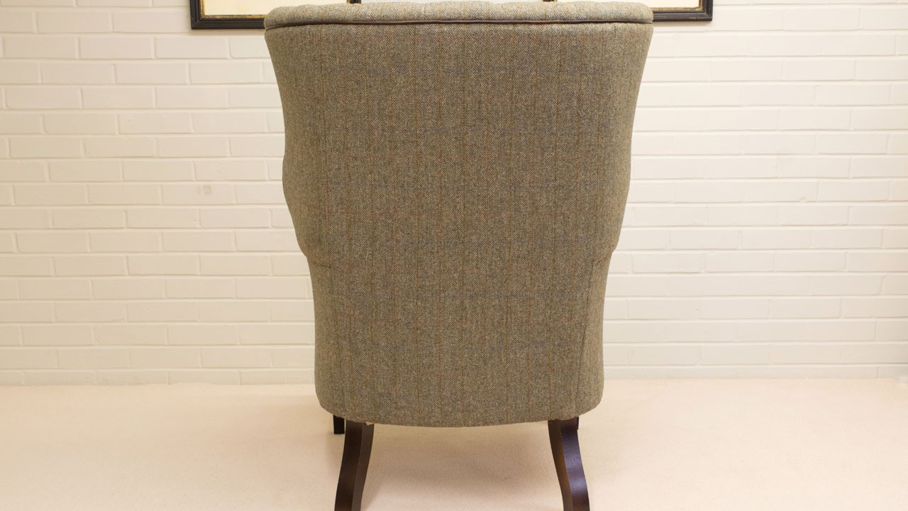 Button Back Harris Tweed Wing Chair - Back View