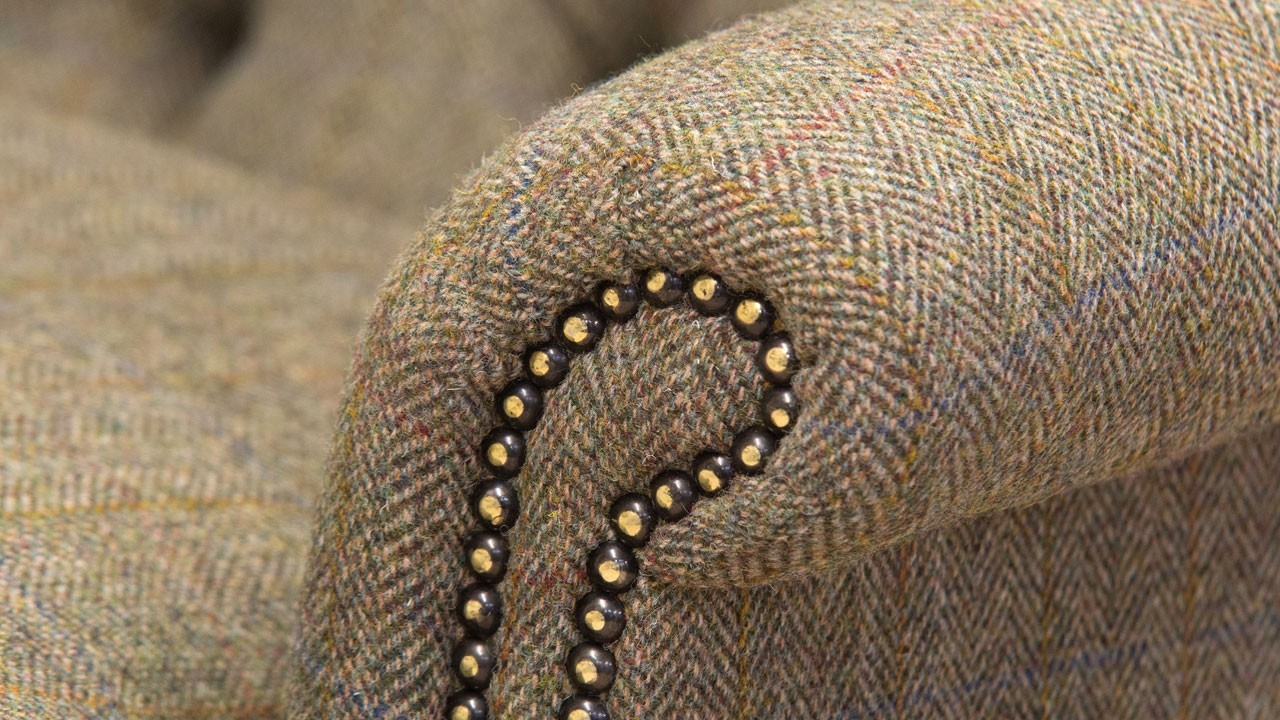 Button Back Harris Tweed Wing Chair - Detail View