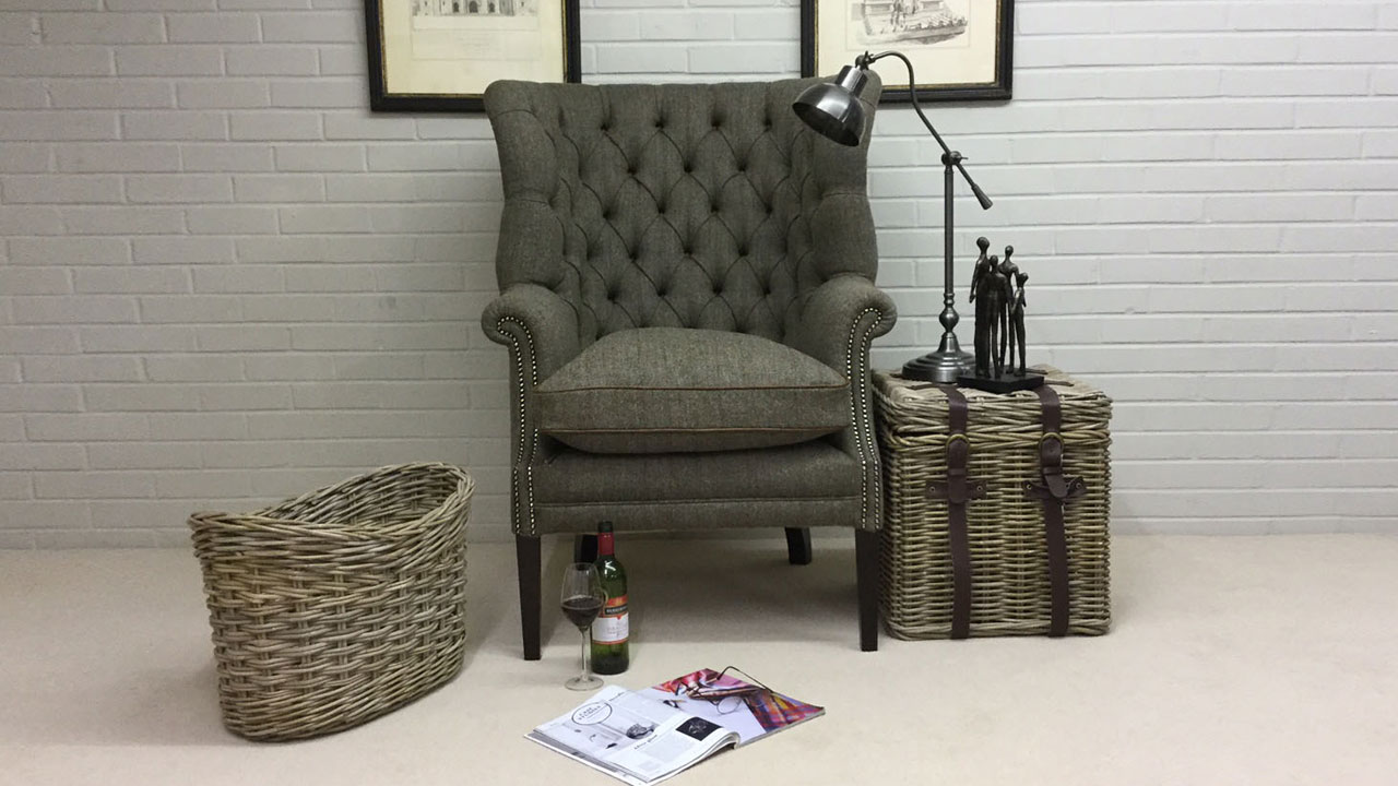 Button Back Harris Tweed Wing Chair - Front View - Alternative