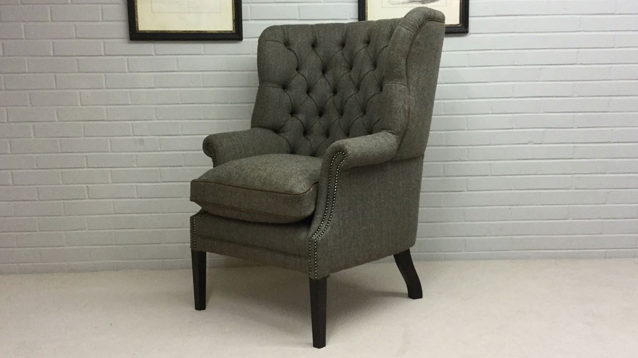 Button Back Harris Tweed Wing Chair - Angled View - Alternative