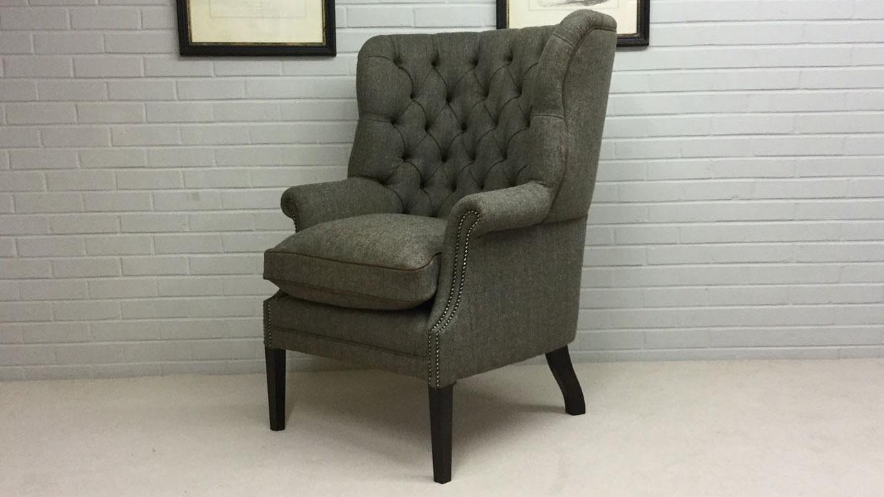 Button Back Harris Tweed Wing Chair Ghshaw Ltd