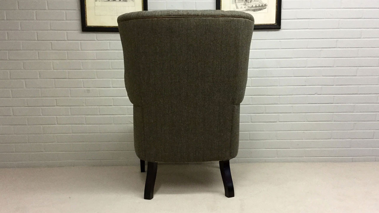 Button Back Harris Tweed Wing Chair - Back View - Alternative