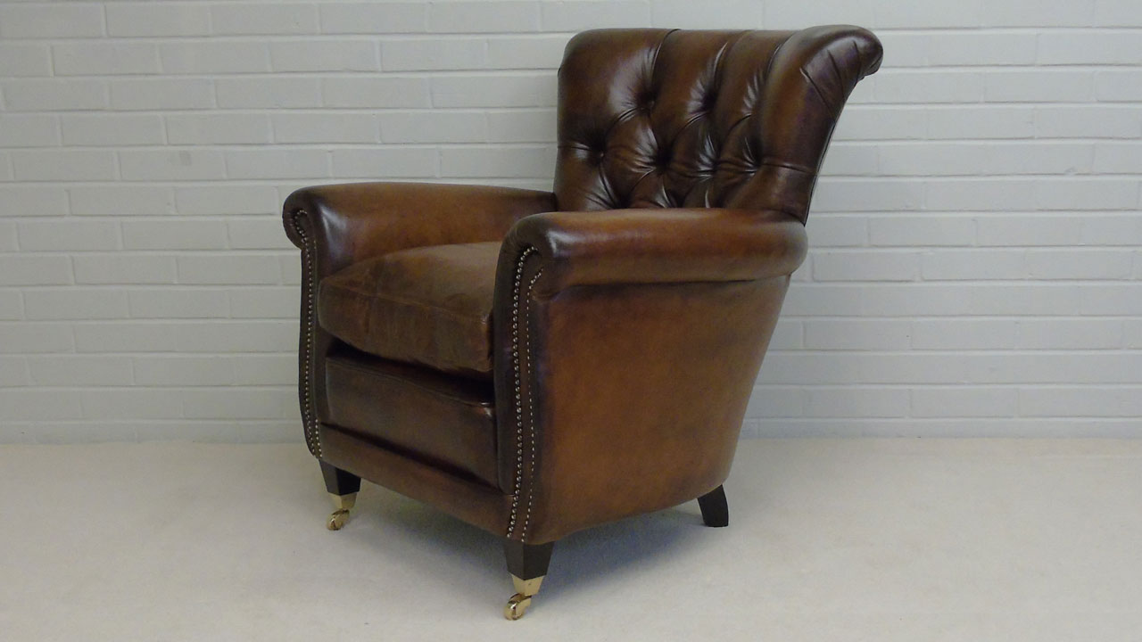Classic Leather Button Back Chair - Angled View