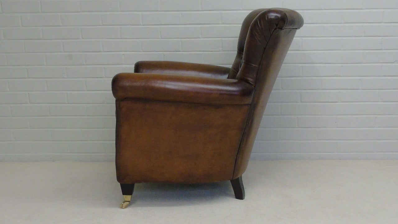 Classic Leather Button Back Chair - Side View