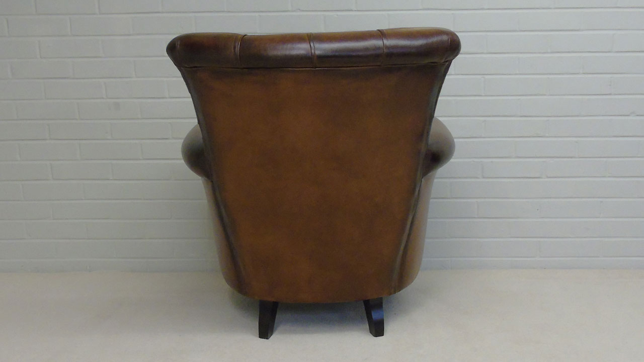 Classic Leather Button Back Chair - Back View