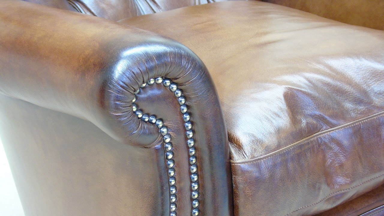 Classic Leather Button Back Chair - Detail View