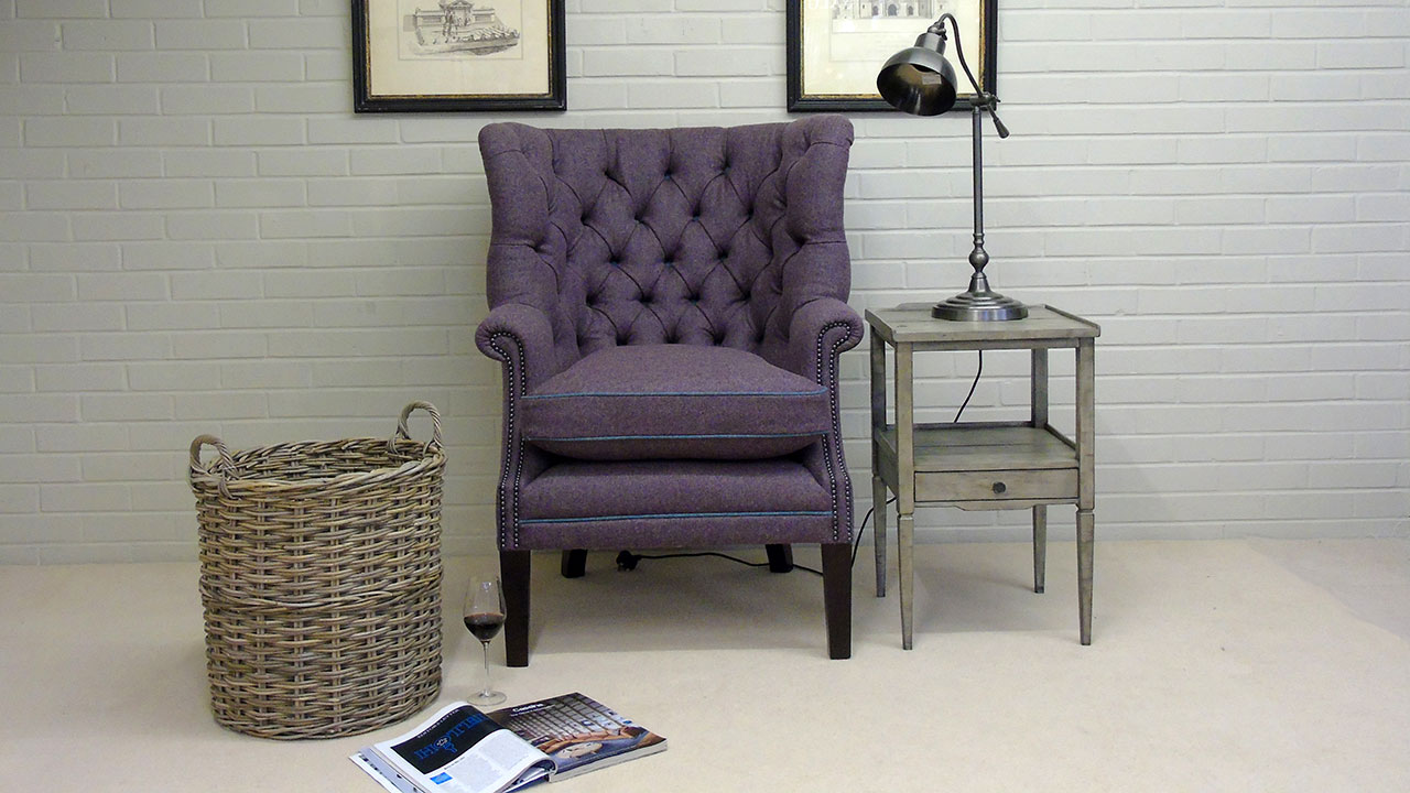 Garrick Wing Chair - Front View - Wool