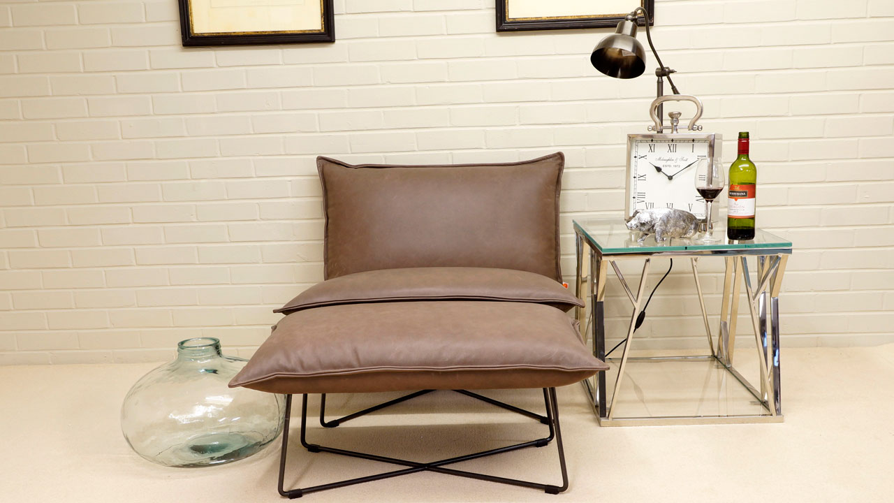 Earl Leather Chair - View with Stool - Brown