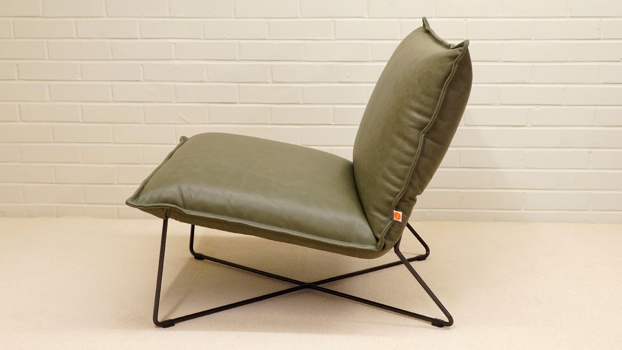 Earl Leather Chair - Side View - Olive