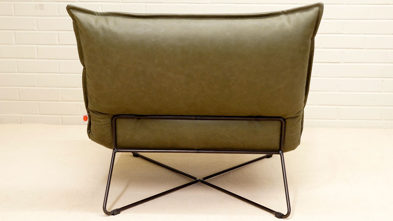 Earl Leather Chair - Back View - Olive
