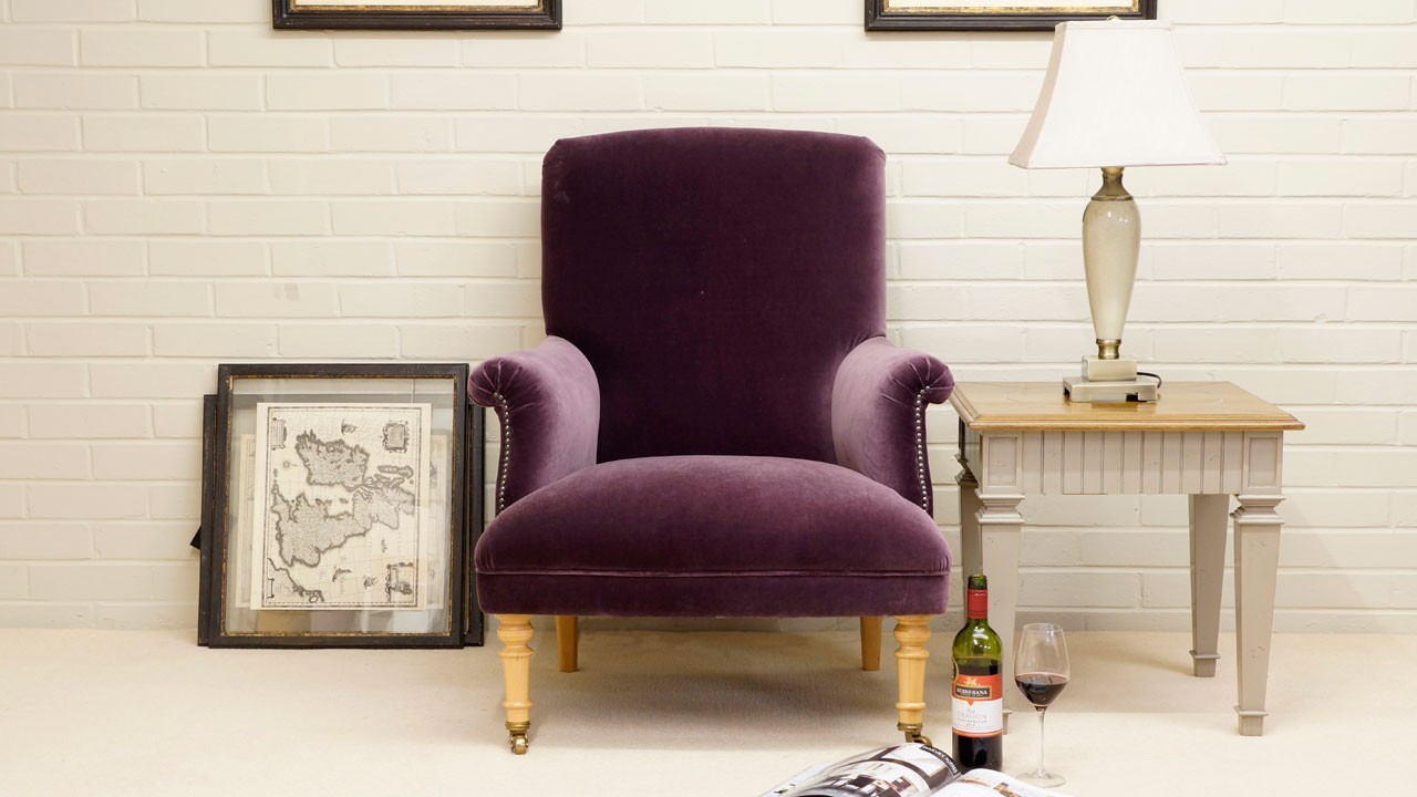 Kendall Chair - Front View - Purple Velvet