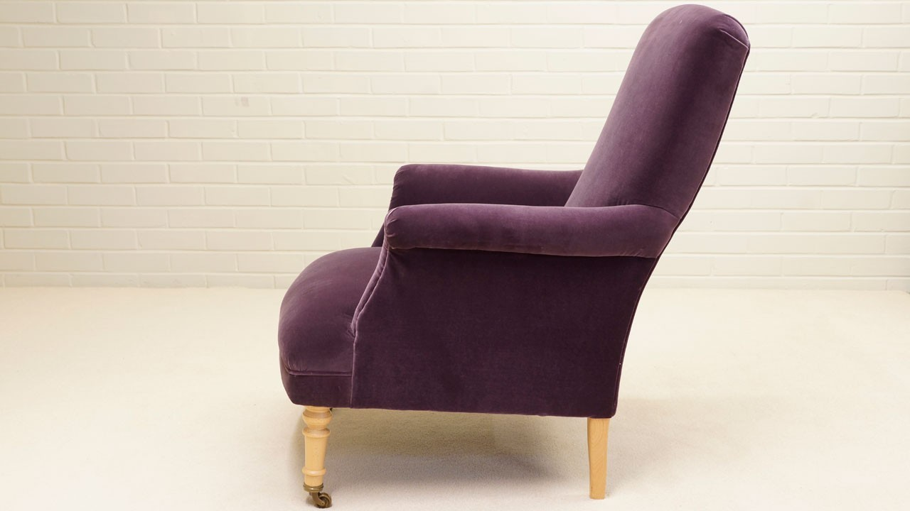 Kendall Chair - Side View - Purple Velvet