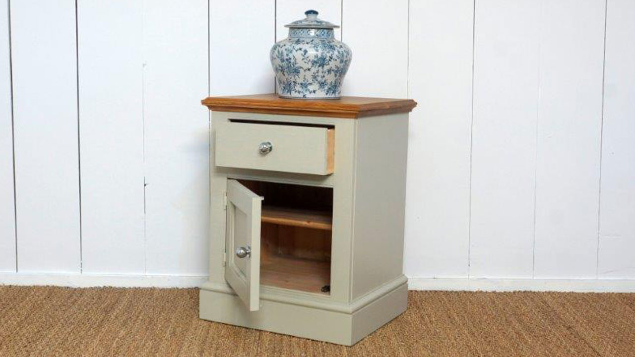 Chatsworth Bedside Chest - Angled View - Door/Drawer Open