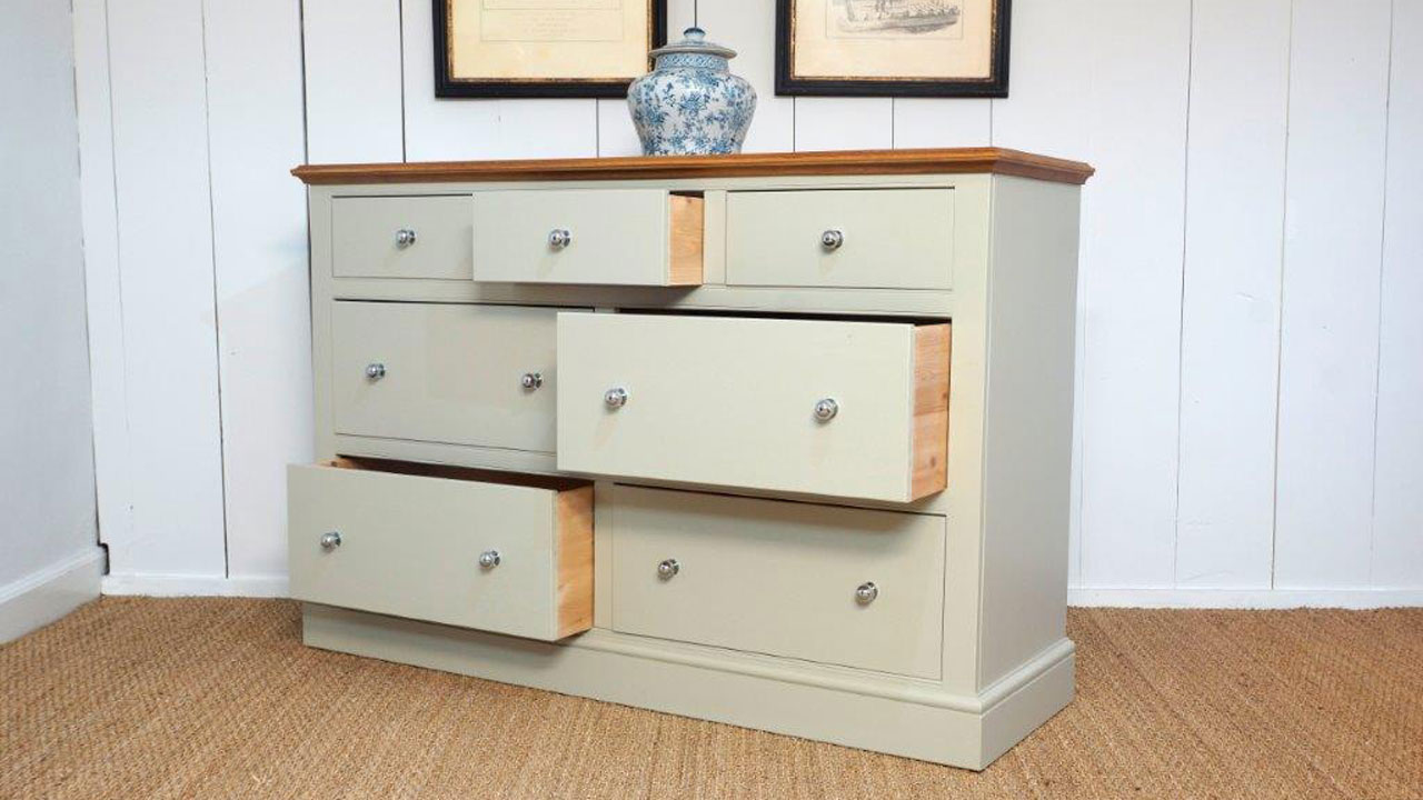 Chatsworth 7 Drawer Multi Chest - Angled View - Drawers Open