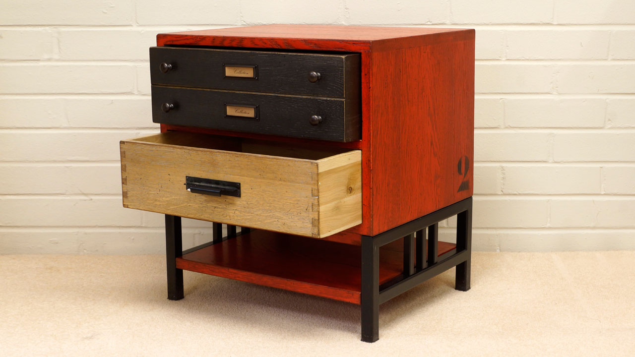 Industrial Filing Chest - Angled View - Drawers Open