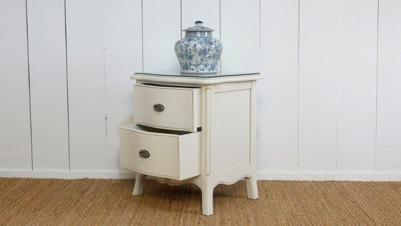 Provence Bedside Cabinet - Angled View - Drawers Open