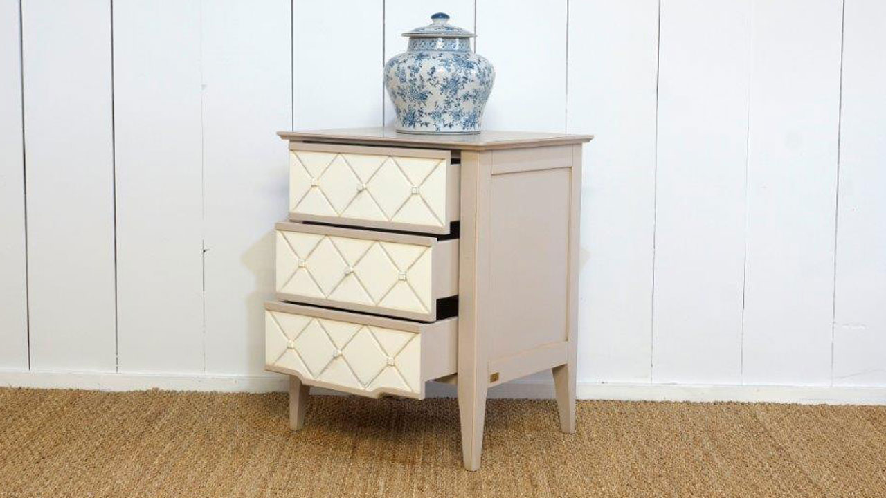 Siguier Bedside Table (ex display) - Angled View - Drawers Open