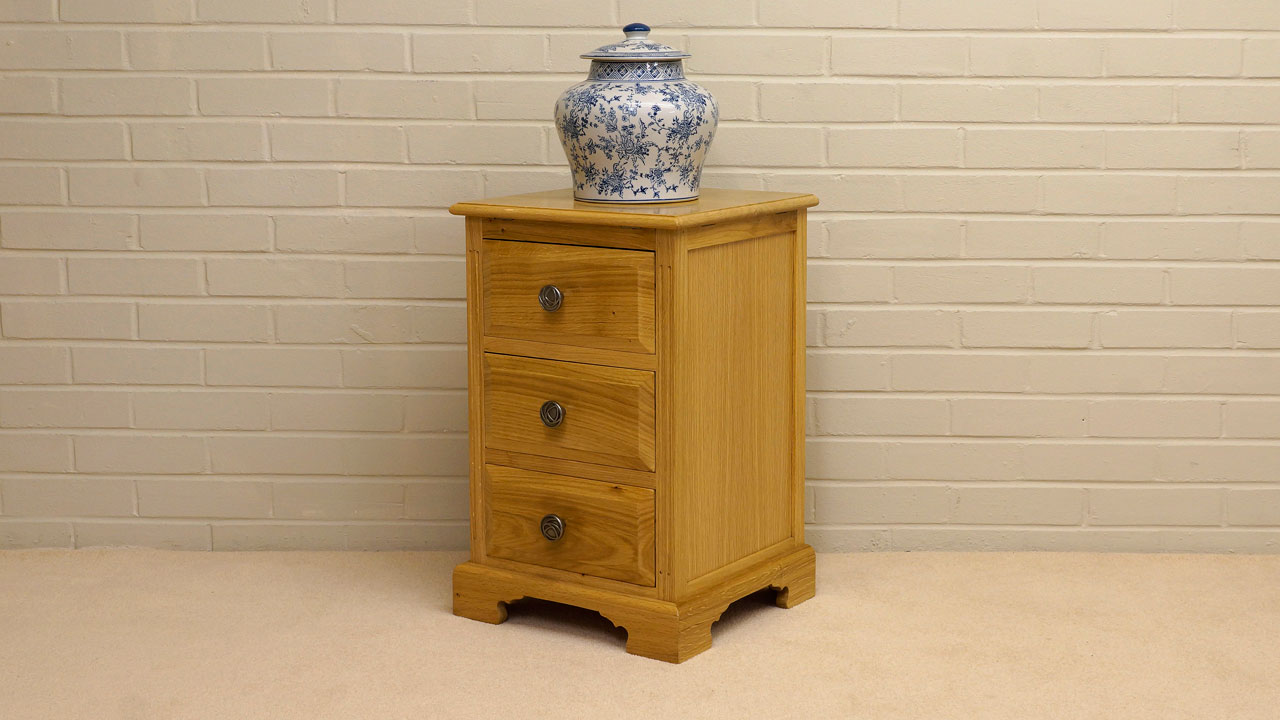 Solid Oak Small Cabinet - Angled View