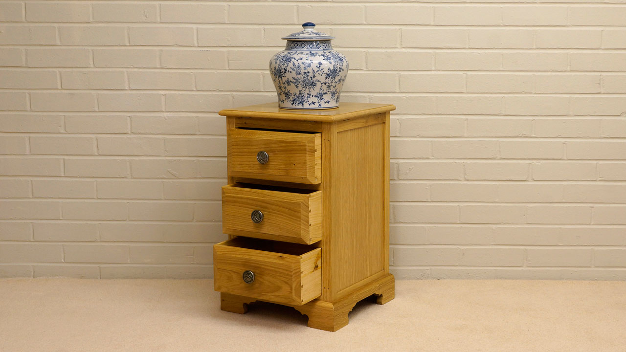 Solid Oak Small Cabinet - Angled View - Drawers Open