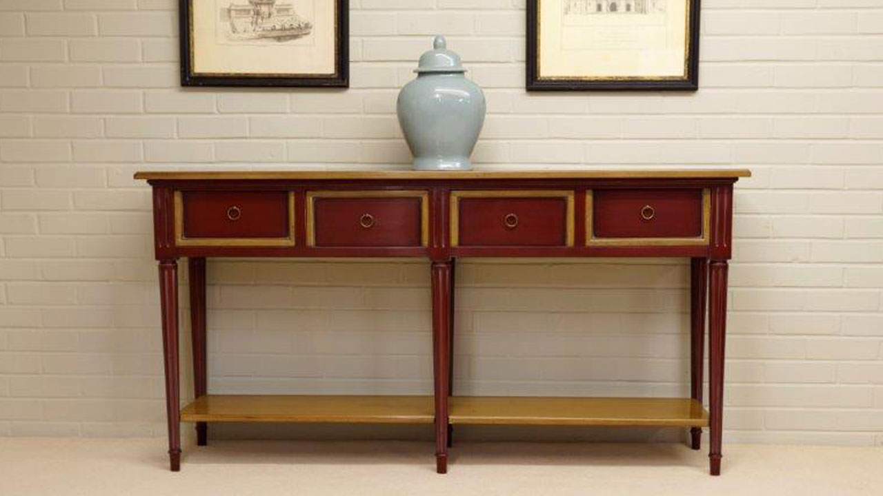 Provence Red Console Table - Front View