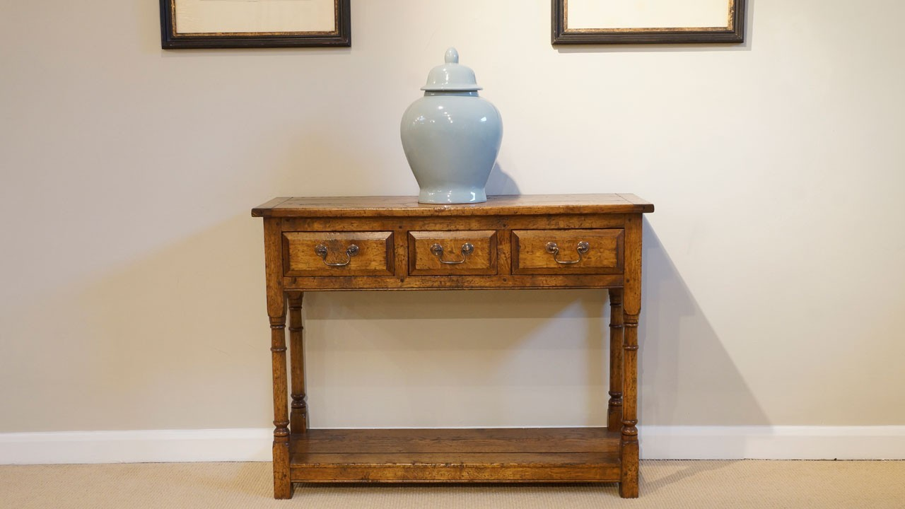 Suffolk Oak Console Table - Front View