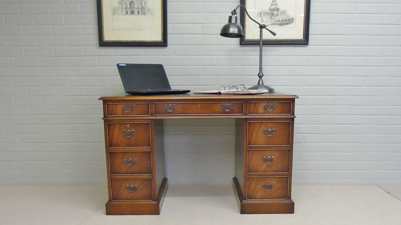 Iain James Mahogany Desk - Front View