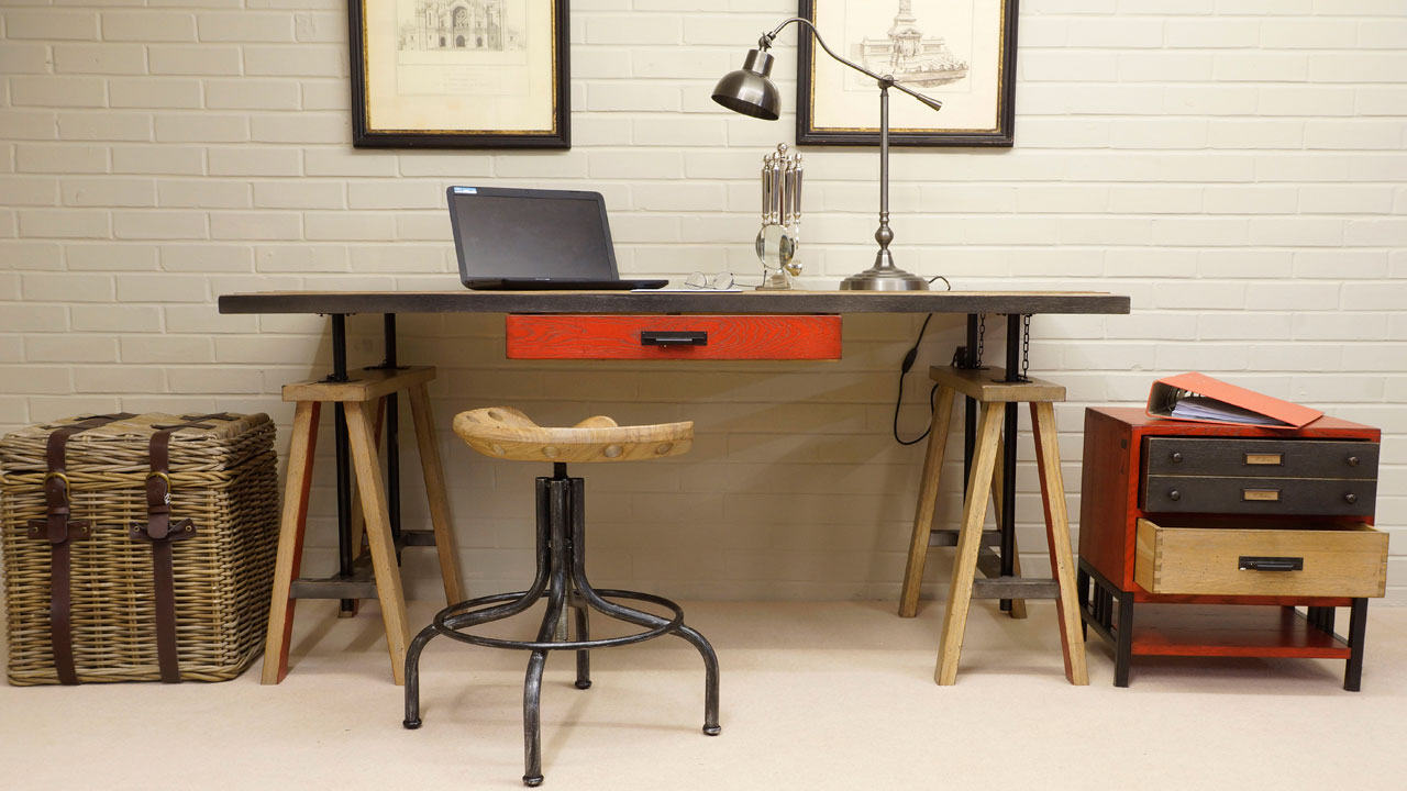 Industrial Desk - Front View with Stool