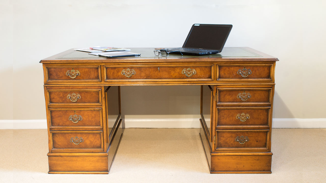 Walnut Pedestal Desk - Front View