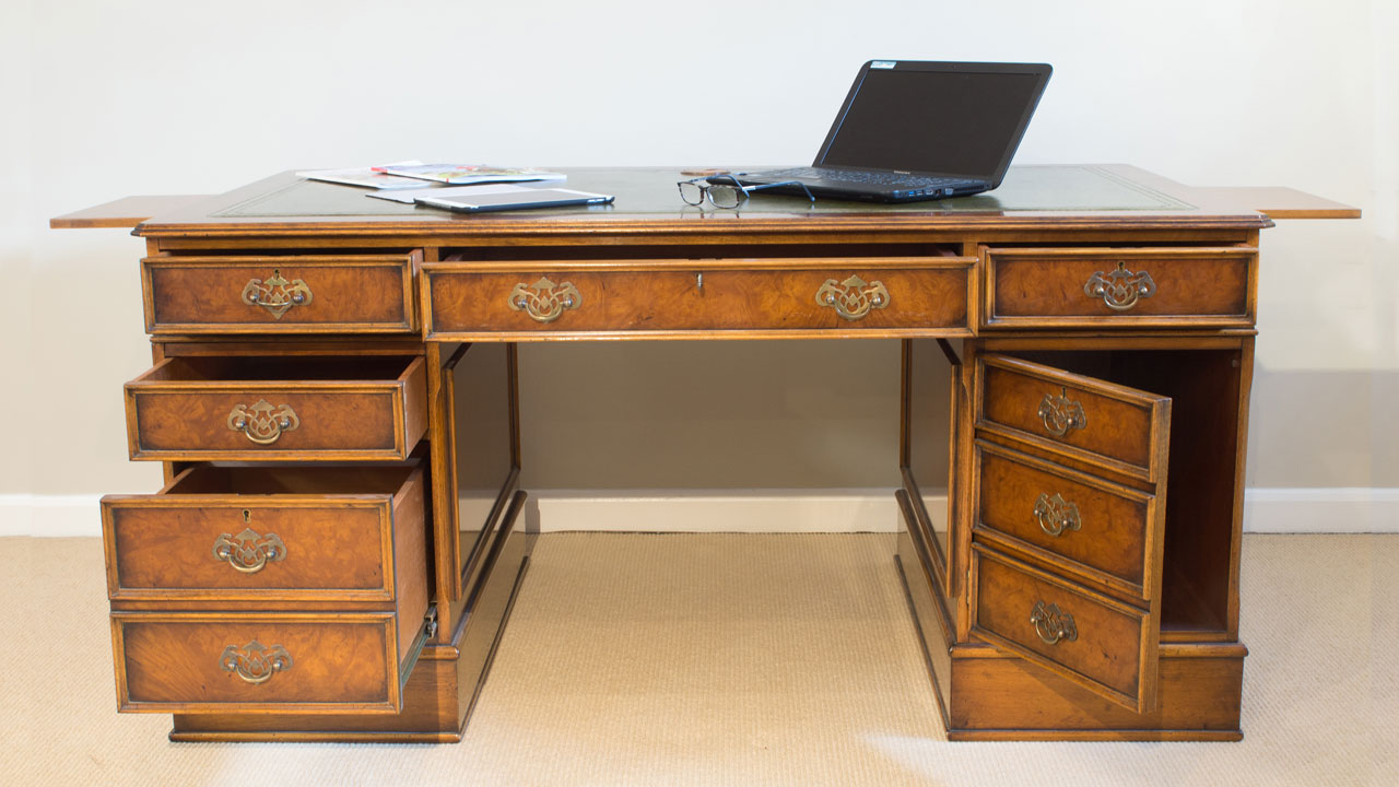 Walnut Pedestal Desk - Front View - Doors and Drawers Open