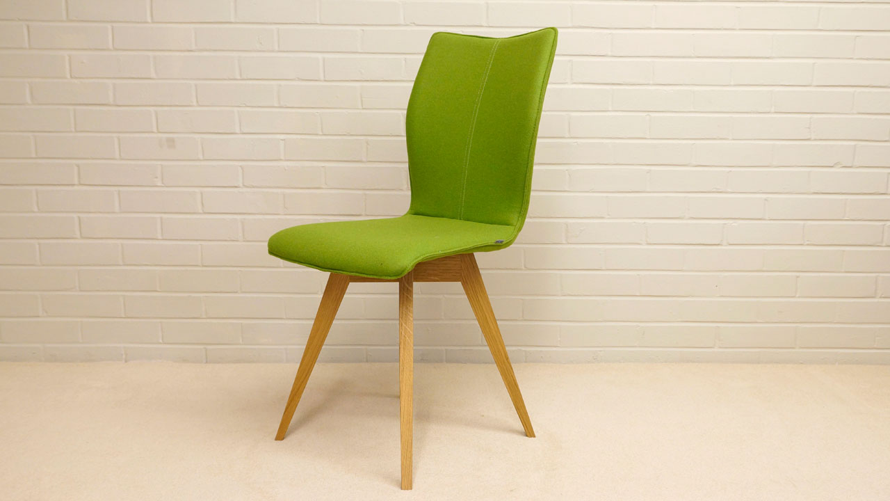 Green Wool Chair - Angled View