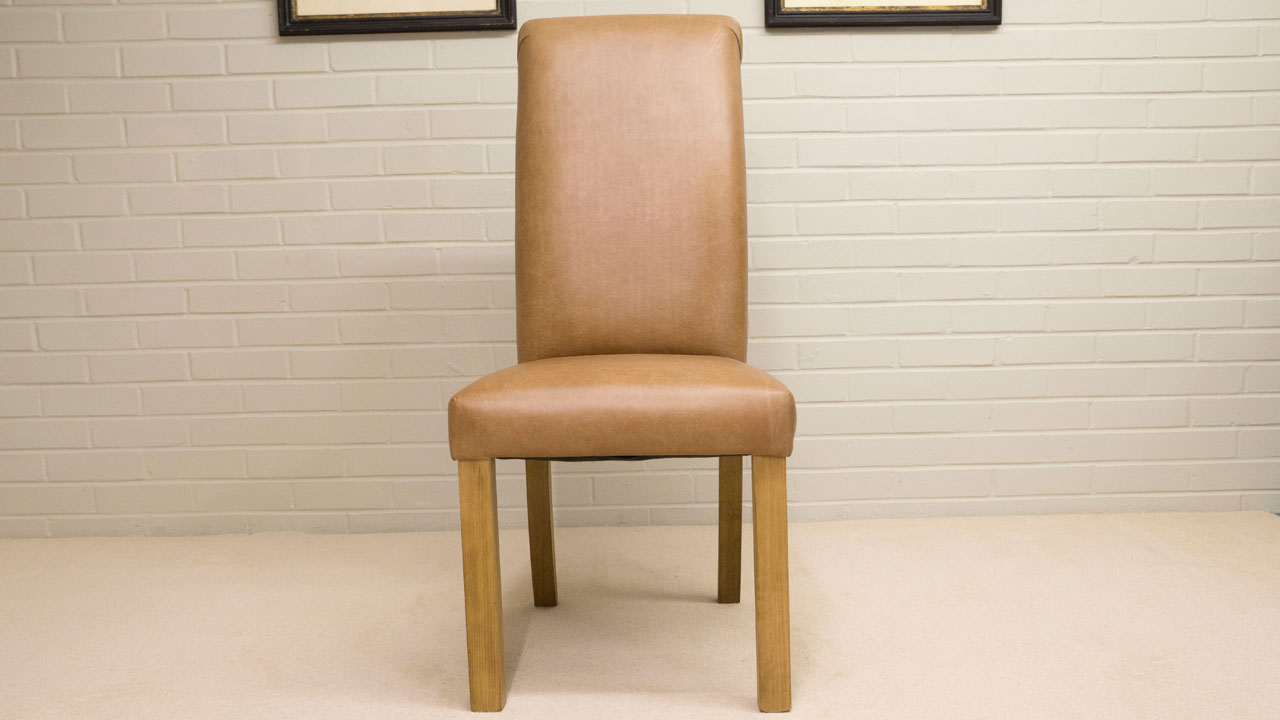 Villa Leather Side Chair - Front View