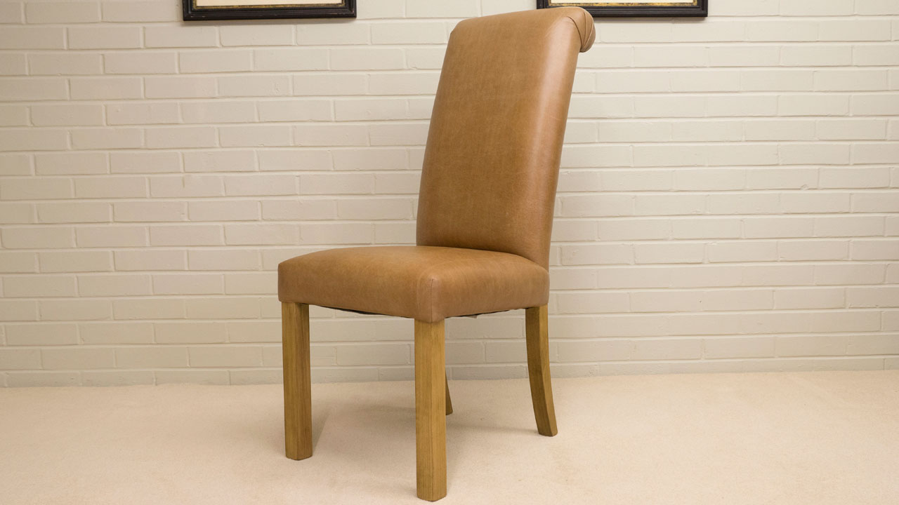 Villa Leather Side Chair - Angled View