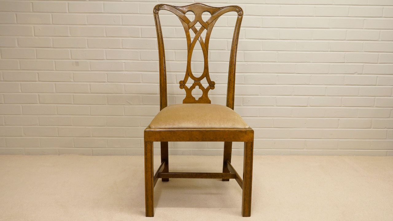 Walnut Dining Side Chair - Front View