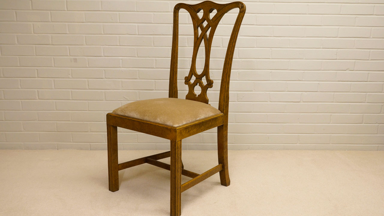 Walnut Dining Side Chair - Angled View