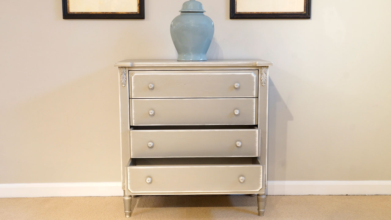Grey Chest of Drawers (ex display) - Front View - 2 Drawers Open