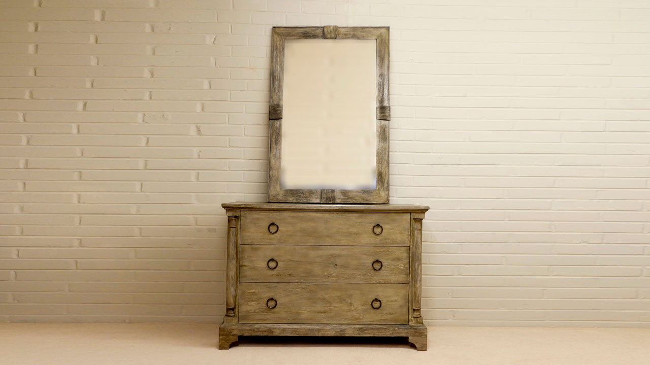 3 Drawer Chest of Drawers - Front View with Optional Mirror