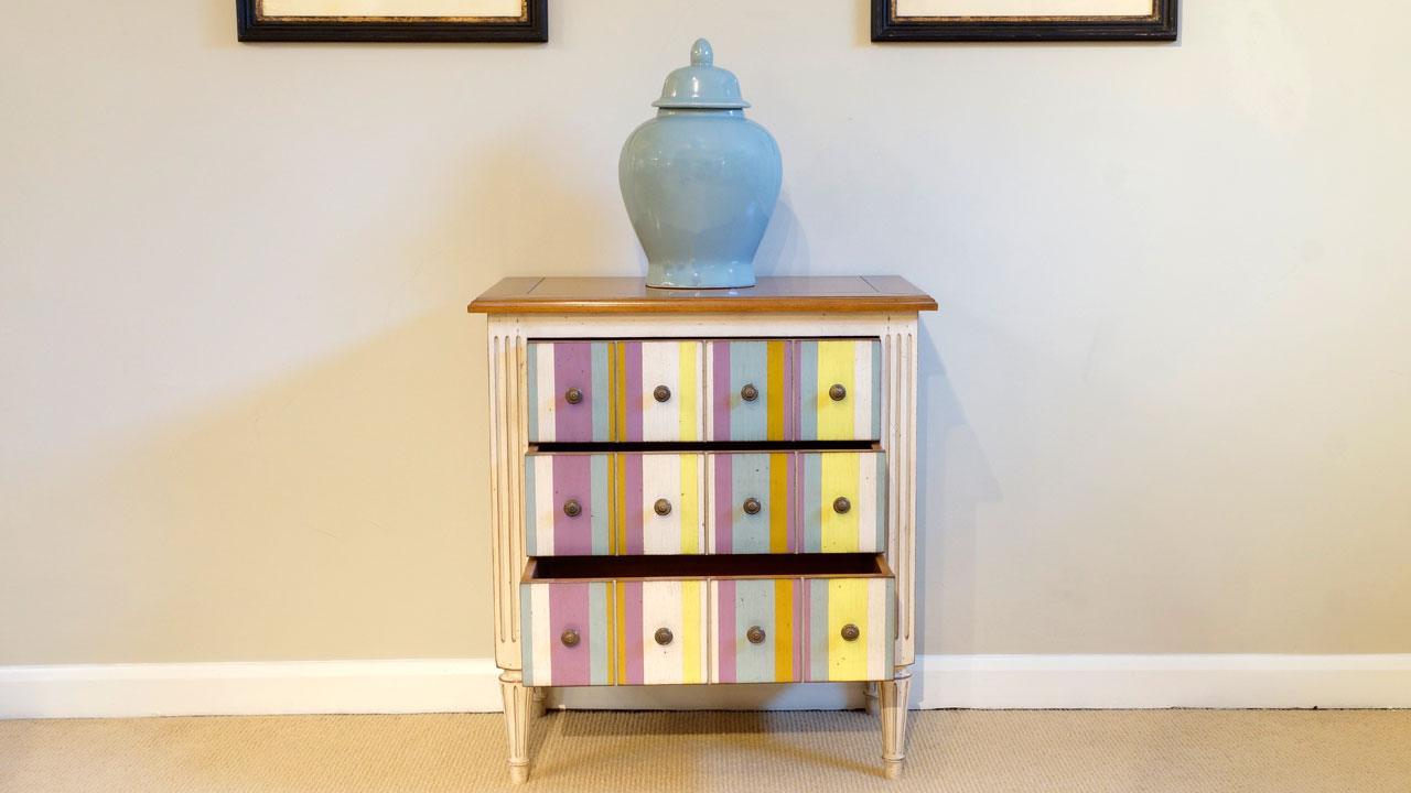 Provence Painted Chest of Drawers - Front View - Drawers Open