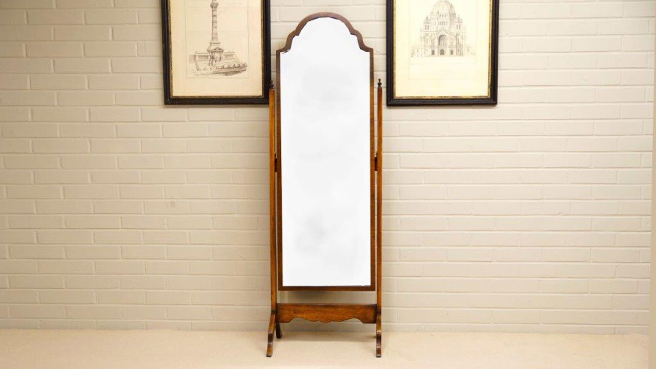 Faded Mahogany Cheval Mirror - Front View