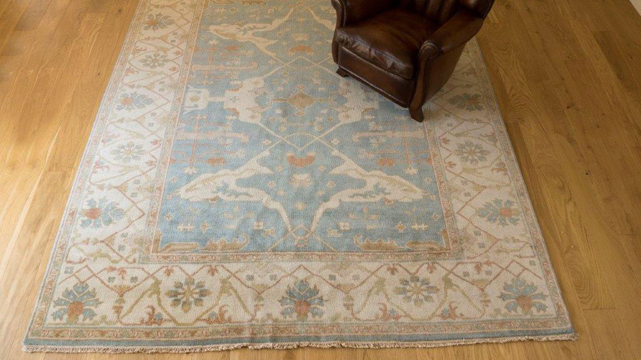 Blue Bordered Rug - Main Image