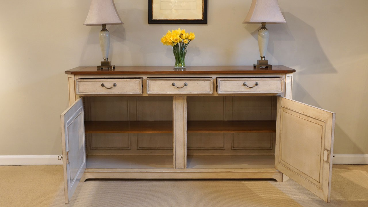 Cherrywood Sideboard - Front View - Drawers and Doors Open